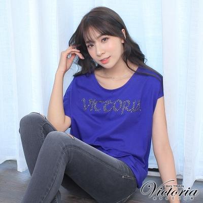 Victoria LOGO貼片不對稱設計短袖T-女-寶藍