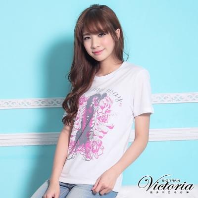 Victoria 搖滾樂手印花TEE-女-白