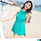 削肩雪紡拼接連身裙式泳裝‧2色-OB大尺碼