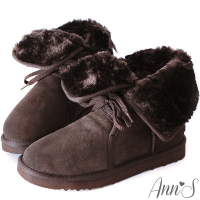 Ann'S溫暖甜美繫帶2way真牛麂皮雪靴-深咖