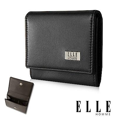 ELLE 法式精品簡約造型頭層皮釦式零錢包- 黑色