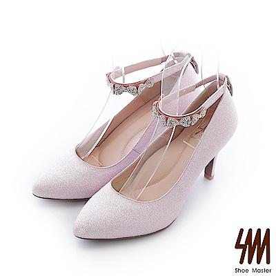 SM-台灣晶鑽-金蔥蝴蝶水鑽可拆環帶尖頭高跟細跟晚宴鞋-粉色