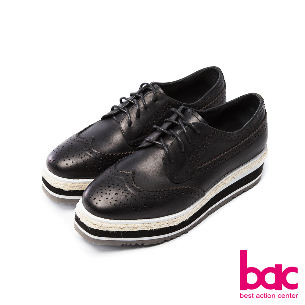 bac中性風尚-雕花沖孔方頭紳士綁帶多層厚底鞋-黑