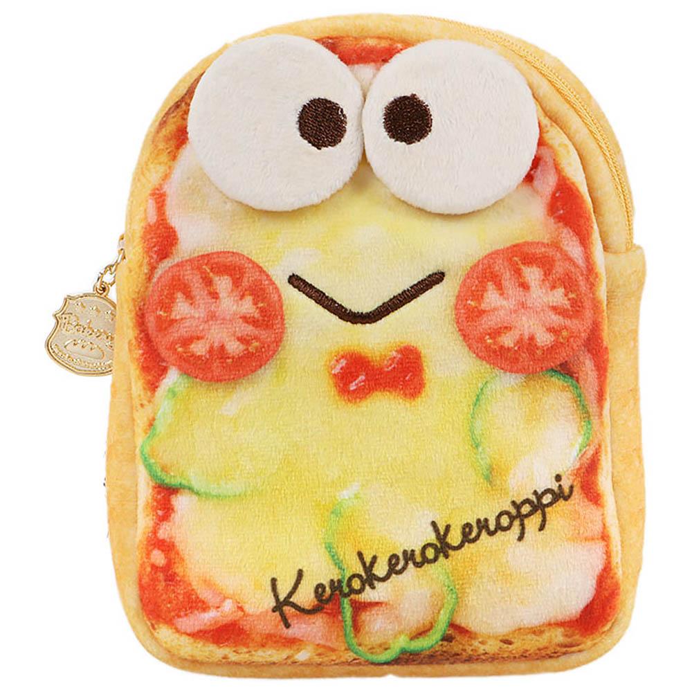 Sanrio 三麗鷗明星趣味麵包店系列吐司麵包造型絨毛扁平化妝包(大眼蛙)
