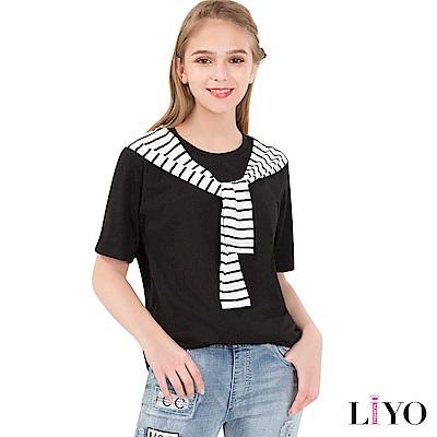 LIYO理優上衣條紋拼肩裝飾棉T恤(黑,白)