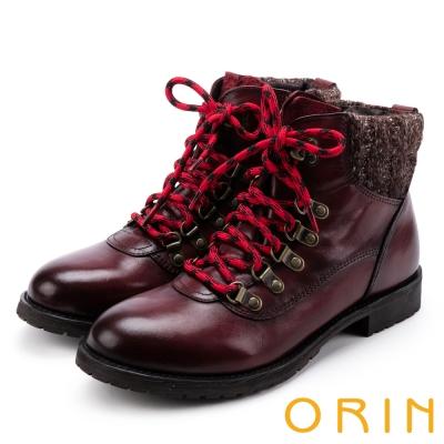 ORIN 粗曠中性帥氣 雙色蠟染牛皮綁帶馬汀靴-酒紅
