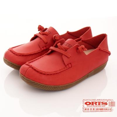 ORIS 女款 真皮 舒適 超柔軟 休閒懶人鞋~ 紅SA17682N07