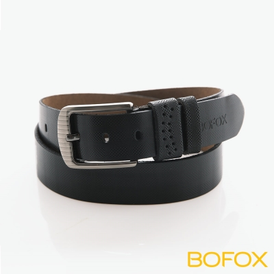BOFOX 真皮格紋亮面休閒皮帶-黑