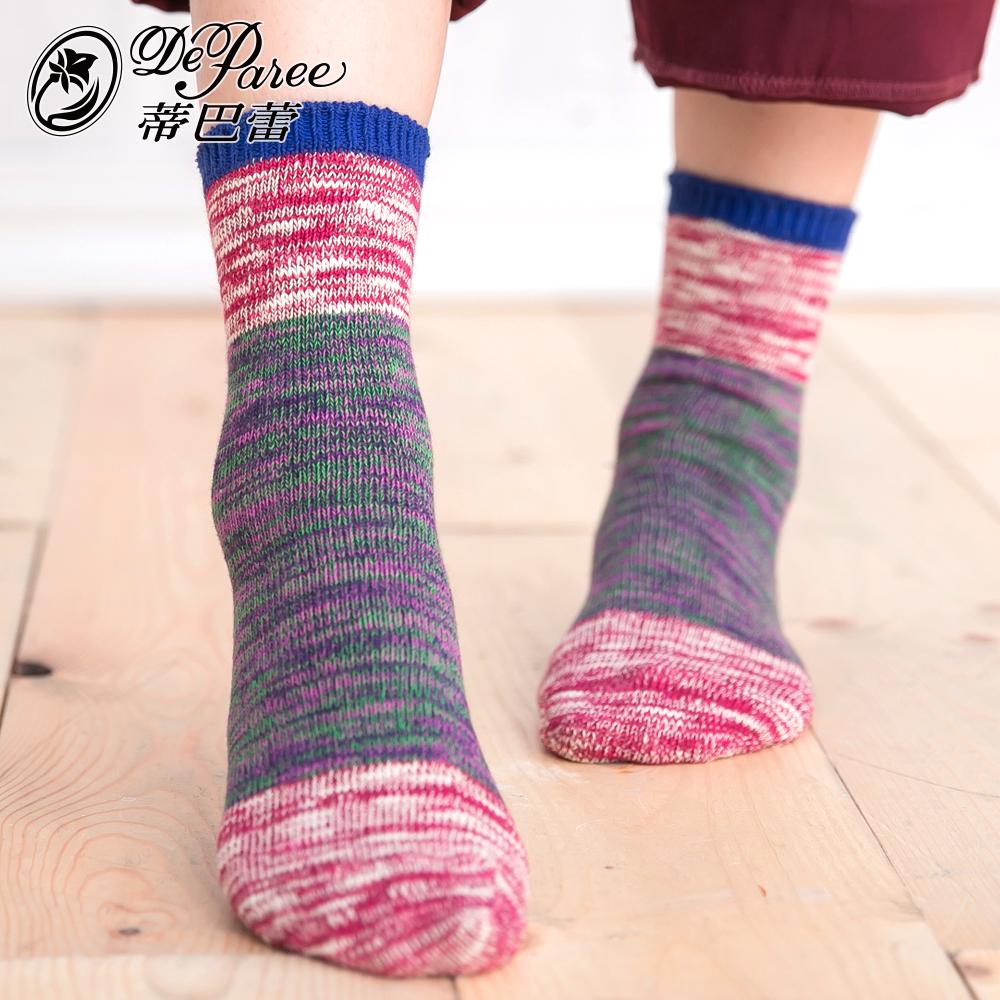 蒂巴蕾 流行女棉襪-多色拼接