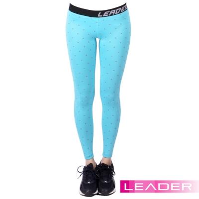 Leader 女性專用 DotFit運動壓縮緊身褲 (藍底大點)
