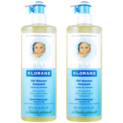 KLORANE bebe蔻蘿蘭寶寶 新生兒洗髮沐浴精500ml兩入特惠組