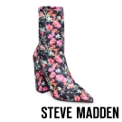 STEVE MADDEN-LOMBARD-FLORAL 尖頭粗跟短筒套靴-花漾黑
