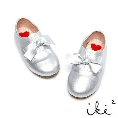 iki2童鞋-真皮粉嫩蝴蝶結休閒鞋-太空銀