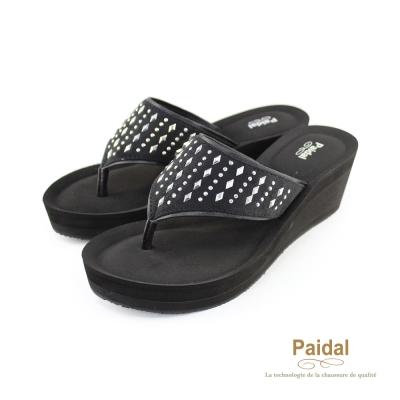 Paidal 幾何星光聚焦夾腳涼鞋拖鞋-黑