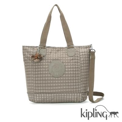 Kipling 斜背包 咖啡格紋-大