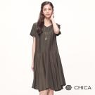 CHICA 韓系氣質簡約素色短袖設計洋裝(2色)