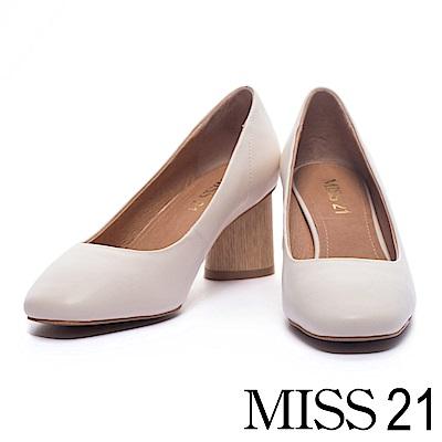 跟鞋 MISS 21 經典復古素面羊皮方頭粗跟鞋-米