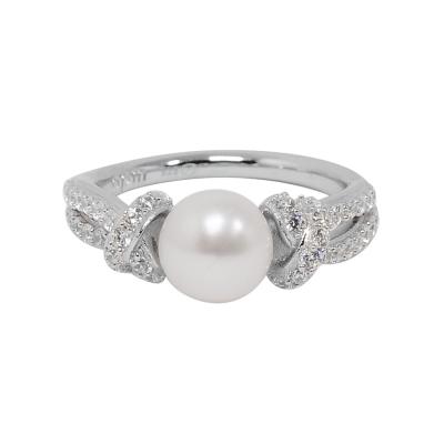 apm MONACO法國精品珠寶 經典交叉珍珠繩結鑲鋯戒指