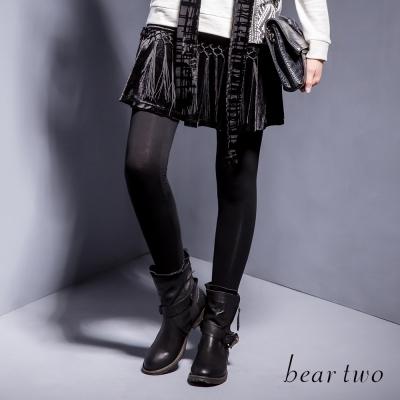 beartwo個性流蘇編織魚尾剪裁內搭褲裙-黑色