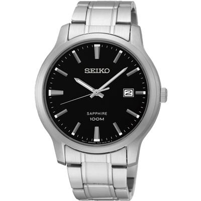 SEIKO 經典時尚 藍寶石水晶日期腕錶(SGEH41P1)-黑/40mm