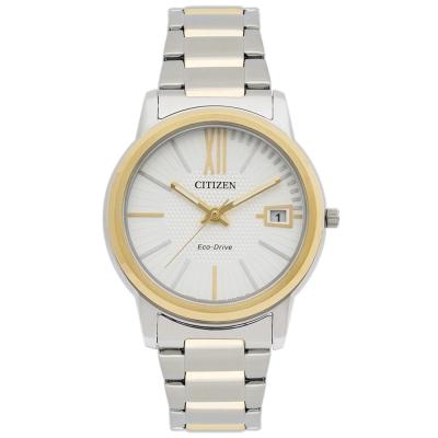 CITIZEN 華麗金銀雙色女錶(FE6014-59A)-白/34mm