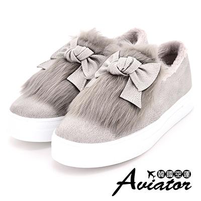 Aviator*韓國空運-正韓製時尚仿舊刷色皮革毛絨蝴蝶結厚底懶人鞋-灰