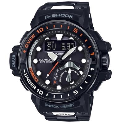 G-SHOCK 強悍進階版航海開發概念電波錶(GWN-Q1000MC-1A)-黑X橘針48mm