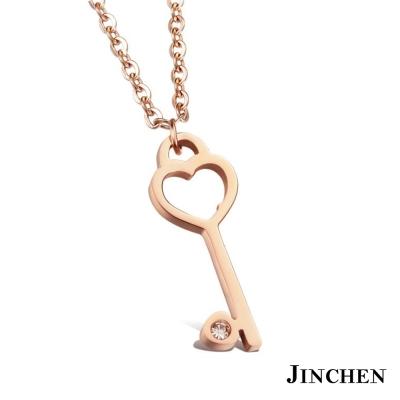 JINCHEN 白鋼愛心鑰匙 女性項鍊 玫瑰金