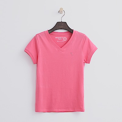 Hang Ten - 女裝 - 有機棉 V領多彩T恤-桃紅色