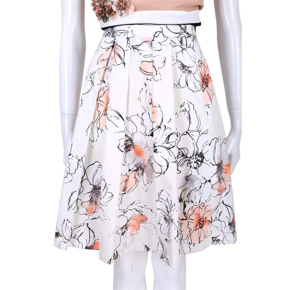 BLUGIRL 白色印花設計及膝裙