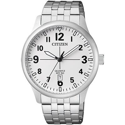 CITIZEN 夜光時尚休閒不鏽鋼男仕手錶(BI1050-81B)-白/40mm