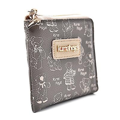 kuma heya -美國熊奶茶色薄型側拉零錢短夾