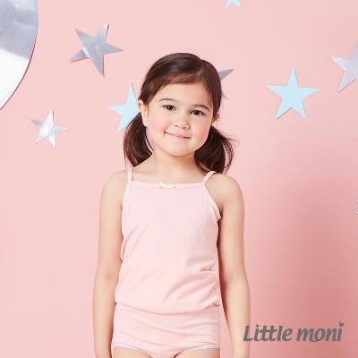 Little moni 涼感系列素面兒童細肩帶背心 粉橙
