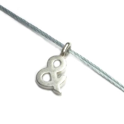 Dogeared & 符號項鍊 銀墜灰藍色棉繩 ampersand 成就人生里程碑