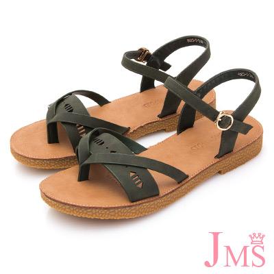 JMS-軟Q舒壓一字帶刻花厚底夾腳涼鞋-綠色