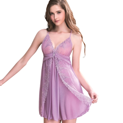 思薇爾 羽霓精靈系列連身蕾絲刺繡性感小夜衣(霓煙紫)