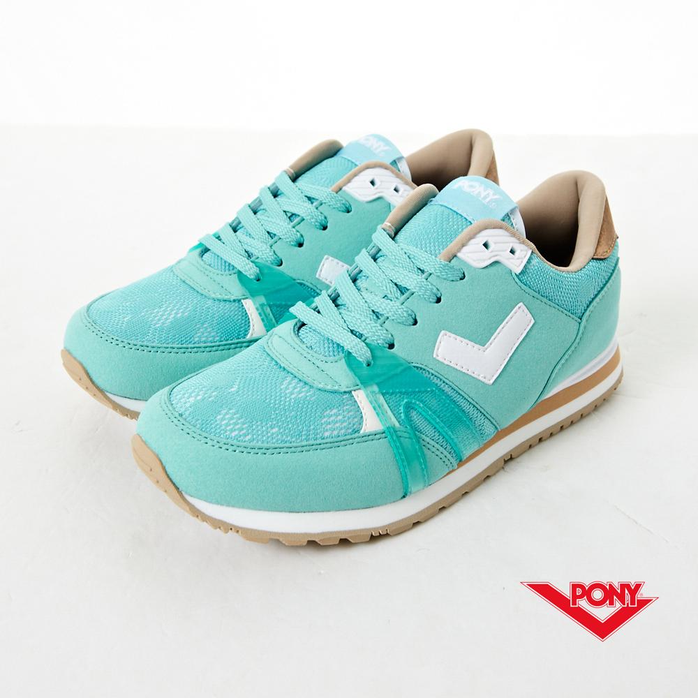 PONY_SOLA-T3 復古新時尚慢跑鞋-湖綠(女)
