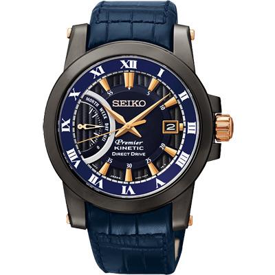 SEIKO Kinetic 互動式人動電能時尚腕錶-藍/42mm
