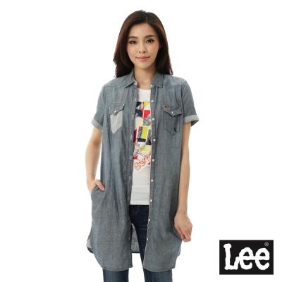 Lee 牛仔短袖長板襯衫/ 洋裝101+-女-藍