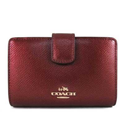 COACH-金馬車Logo鵝卵石紋皮革壓扣式中夾-櫻桃香檳色