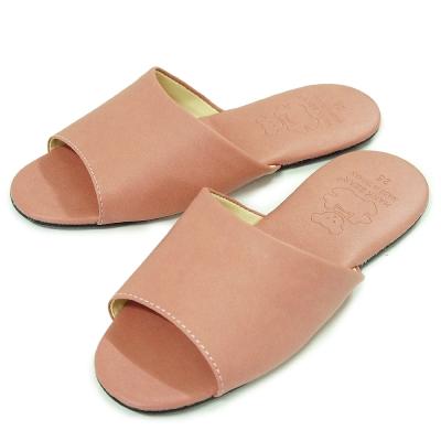 《布安於室》熊熊室內皮拖鞋-紅粉(2雙入)