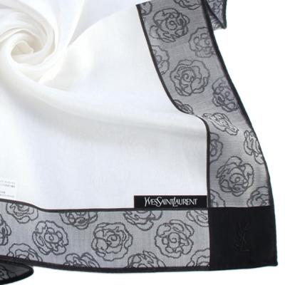 YSL 古典玫瑰邊框純棉帕巾-灰黑色