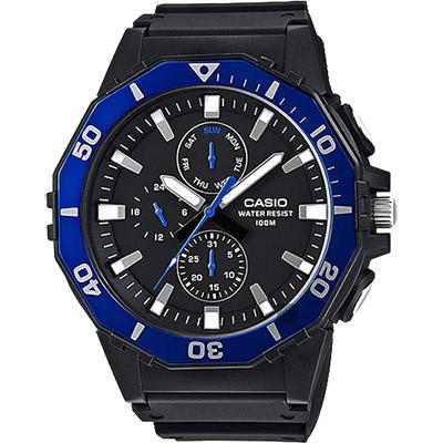 CASIO卡西歐 DIVER LOOK 潛水運動風手錶-藍圈/57.9mm