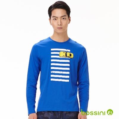 bossini男裝-印花長袖T恤03藍紫