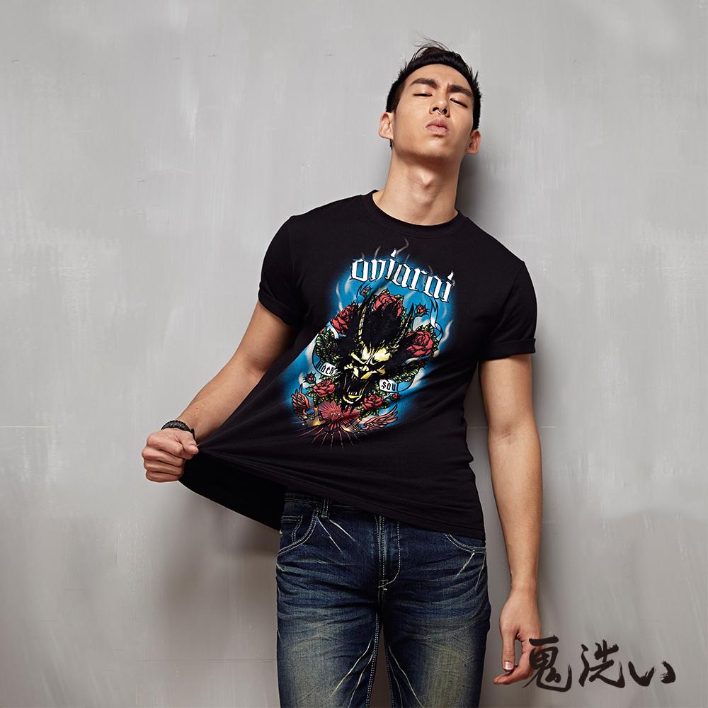 鬼洗 BLUE WAY 爆裂鬼美式圖騰植絨短袖T恤-黑色