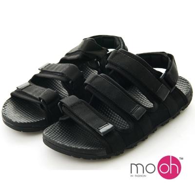 mo.oh 2way情侶款透氣防滑魔鬼氈運動涼鞋-黑色