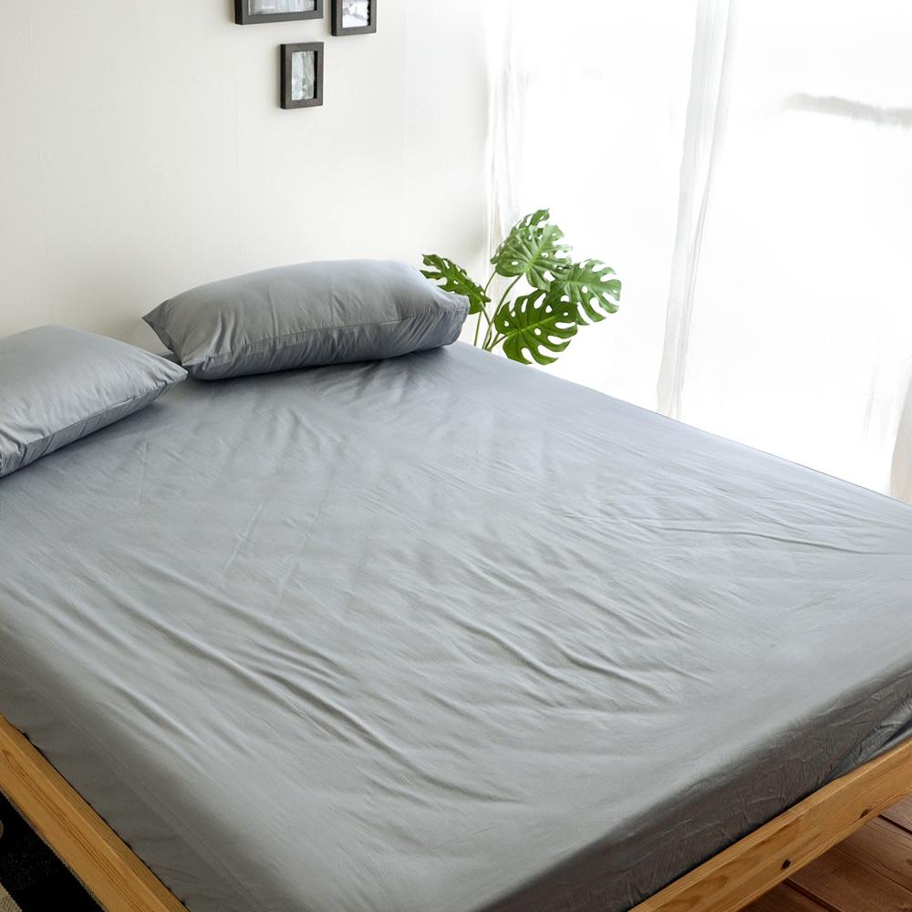 絲薇諾 MIT精梳純棉 灰色 加大三件式-床包枕套組