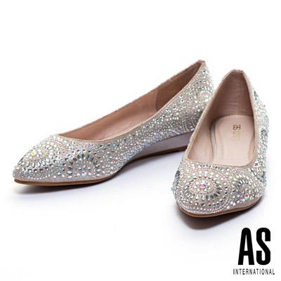 楔型鞋-AS-繽紛萬花筒排鑽造型羊麂皮楔型低跟鞋-金