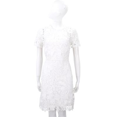 Vivienne Tam 白色蝴蝶織花蕾絲短袖洋裝
