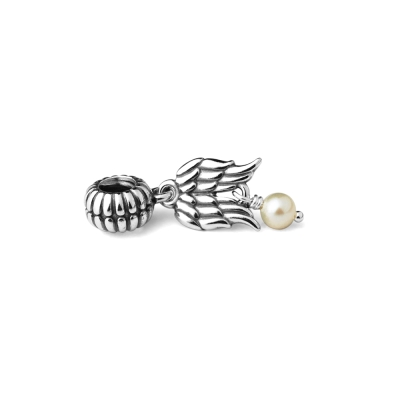 Pandora 潘朵拉 垂飾-翅膀白珍珠墜